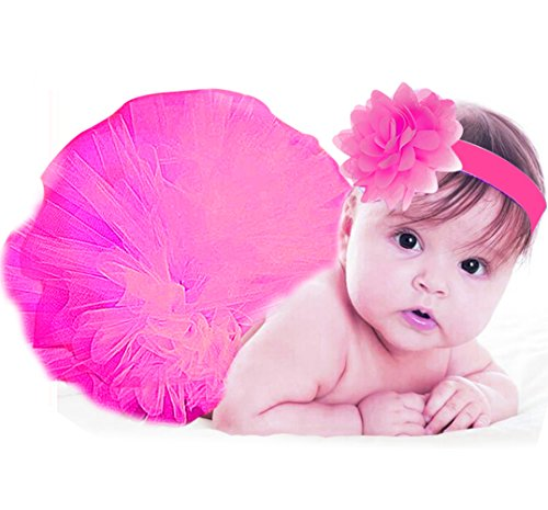 [Jubileens Baby Infant Girls Photography Prop 2PCS Tutu Dress Headband Costume (Hot Pink)] (Cute Halloween Costumes For Newborn Babies)