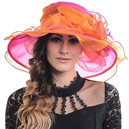 Wimdream Derby Hats for Women,Ladies Church Wedding Tea-Party-Wide-Brim-Organza-Hat-S019 (S037-Magenta with Orange)