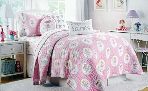 (Authentic Kids Twin Size Reversible Quilt Pastel Fairies with Wings Wands Girls on Pink)