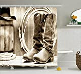 Western Shower Curtains Western Decor Shower Curtain by Ambesonne, Traditional Rodeo Supplies with Roper Boots in Vintage Colors Nostalgic Wild Photo, Polyester Fabric Bathroom Decor Set with Hooks, Sepia