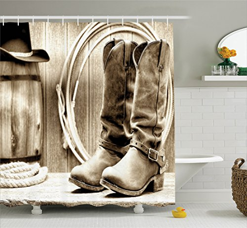 Western Bath Decor (Western Decor Shower Curtain by Ambesonne, Traditional Rodeo Supplies with Roper Boots in Vintage Colors Nostalgic Wild Photo, Polyester Fabric Bathroom Decor Set with Hooks, Sepia)