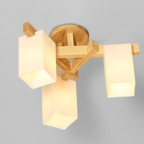 Escandinavo simples luces de madera led madera salón ...