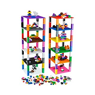 Strictly Briks - Brik Tower with 336 Classic Bricks - 12 Colors - 12 6x6 inch Baseplates - 100% Compatible with All Major Building Brick Brands