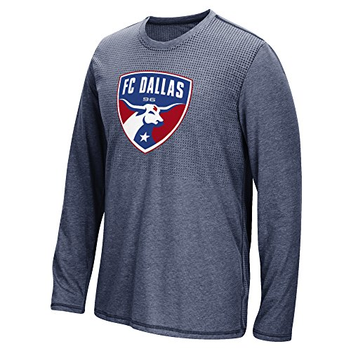 MLS Fc Dallas Men's Climacool Aeroknit Long Sleeve Tee, Heathered Navy, Small