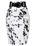 Belle Poque White Floral Pencil Skirts Women Knee Length Party Skirts M KK610-5