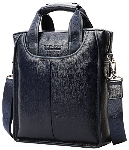 """Men's Luxury Soft Leather Cowhide Tote Classic Briefcase Shoulder Messenger Cross Body (12.2"""" X 10.6"""" X 3.3"""", Navy Blue)"""
