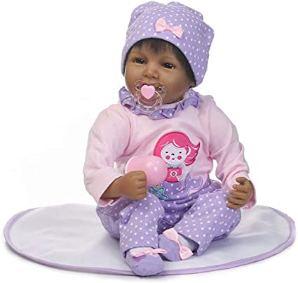 "22/"" Biracial Reborn Baby Dolls Black Newborn Girl Baby Dolls African American US"