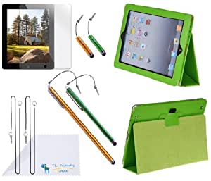 """The Friendly Swede PU Leather Case / Stand / Cover for Apple iPad 2 / iPad 3 / iPad 4 + Clear Screen Protector + 1 XXL 7.3"""" Stylus Pen + 1 Large 5.3"""" Stylus Pen + 2 Short 1.7"""" Stylus Pens + 4 Detachable Stylus Lanyards + Microfiber Cleaning Cloth in Retail Packaging (Green)"""
