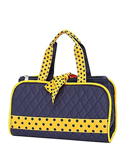 Belvah Quilted Solid 3pc Cosmetic Bag (Navy/Gold) (Bag Cosmetic Belvah)