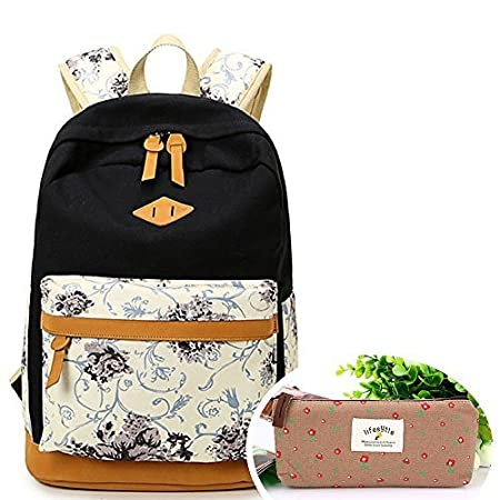 6c1703e640 SymbolLife Casual Style Lightweight Canvas Laptop Backpack Cute Travel  School College Shoulder Bag for Teenage Girls