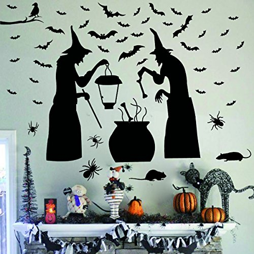 Mouse Costumes Diy (Ivenf Halloween Party Supplies Decorations Wall Decal Window Decor 2 Witches with Bats Spider Mouse & Crow)