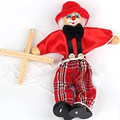 xiaopingshop Wooden Marionette Pull Clown Toys for Children(red): Toys & Games