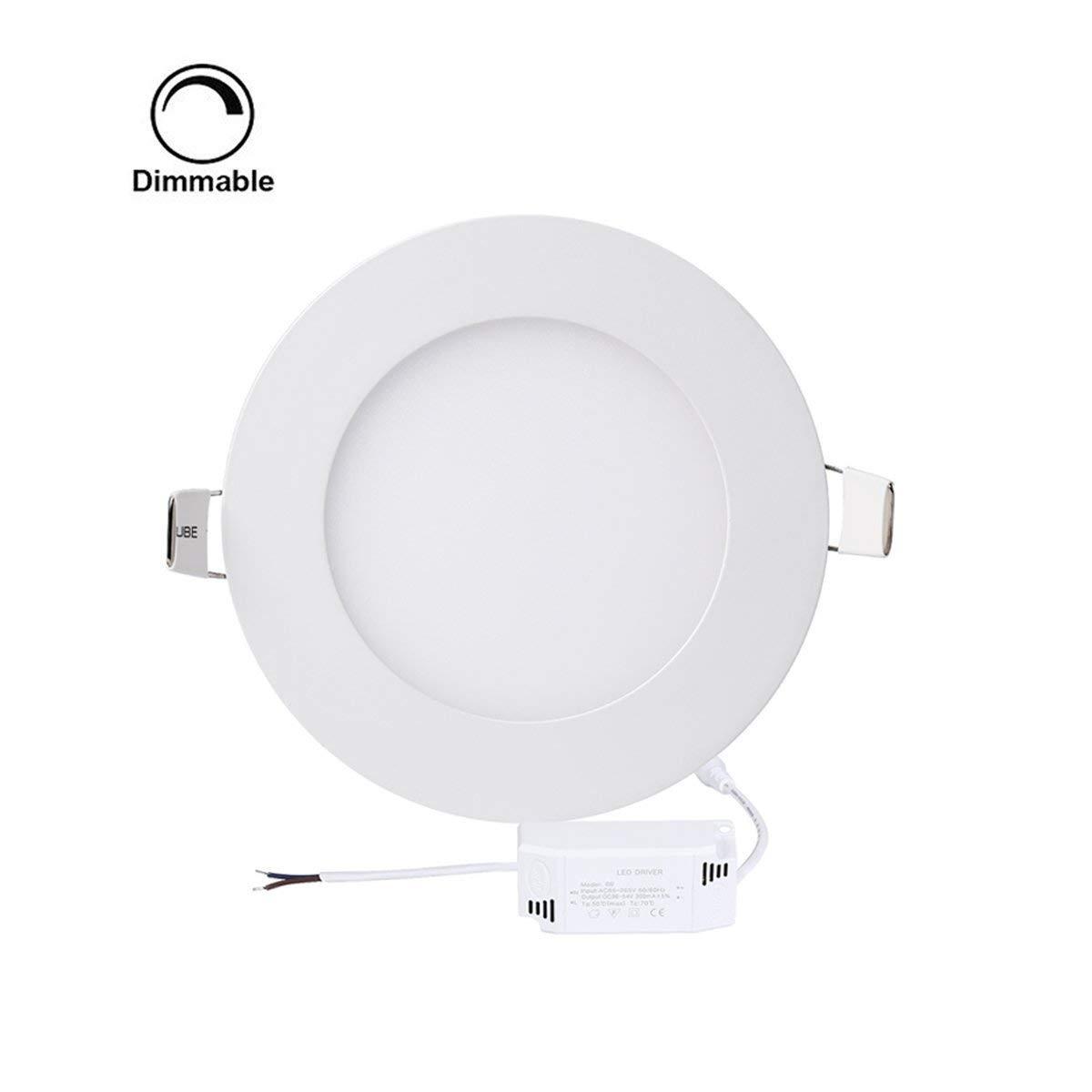 Pack of 5 Units Dimmable Round LED Panel Light,Ultra-thin Recessed Ceiling Light,Round led Flat panel light Downlight with 120V Isolation Driver for Home, Office, Commercial Lighting(12W, 4000K)
