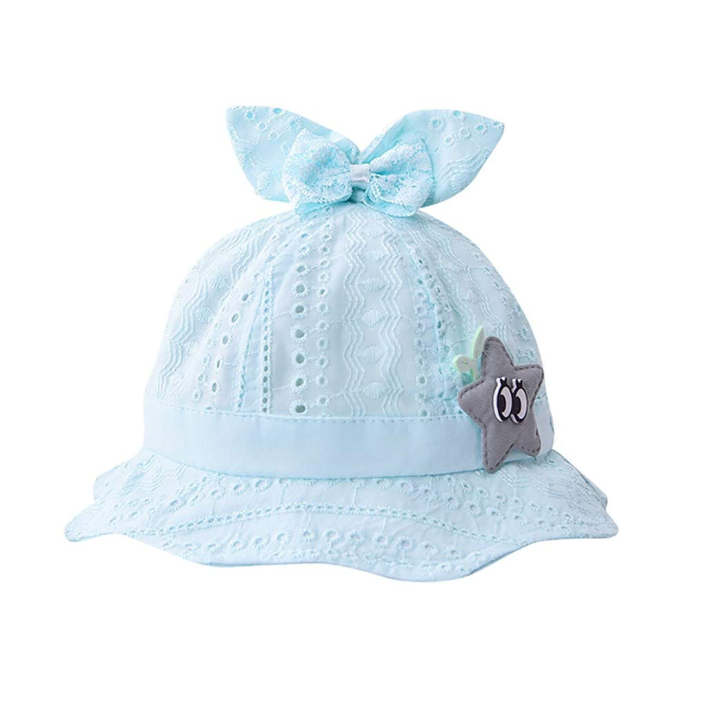 ❤️ Mealeaf ❤️ Baby Toddler Boys Girls Summer Cartoon Ear Hat Infant Stars Printing Cap(Sky Blue,)
