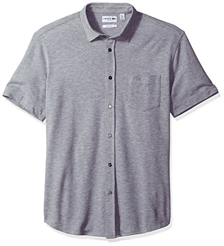 Lacoste Men's Short Sleeve Full Button Slim Fit Polo-PH2035, Silver Chine, 4
