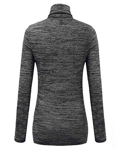 ZANZEA Mujer Camiseta Con Manga Larga Cuello Alto Jumper Top Shirt Blouse Pullover Negro