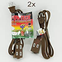2x Brown 4 feet Powtech UL Extension Electric Cable 3 Outlet Cord 2 Prong Brown by Powtech