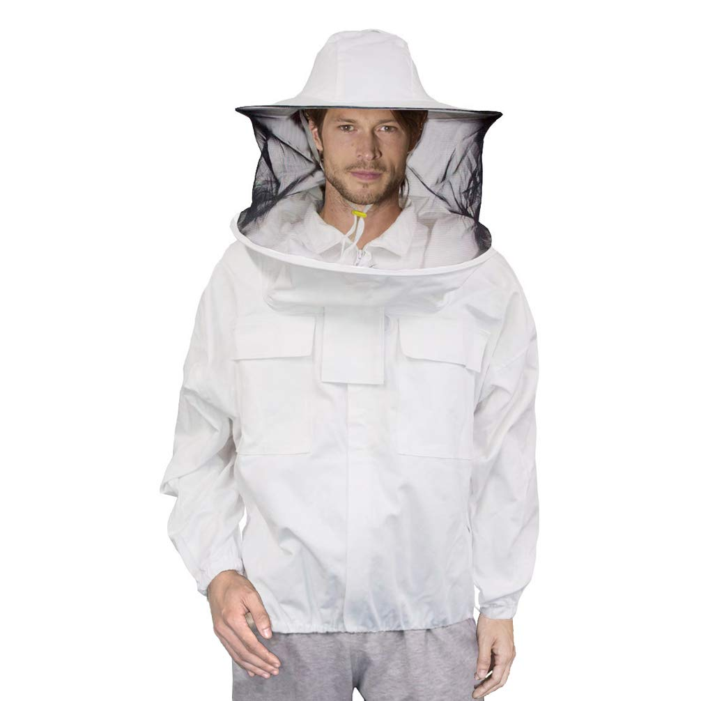 Luwint Ventilated Beekeeping Jacket - Professional Cotton Beekeeper Jacket Beekeeping Suit with Removeable Round Veil Hood for Beekeeper Men Women ...
