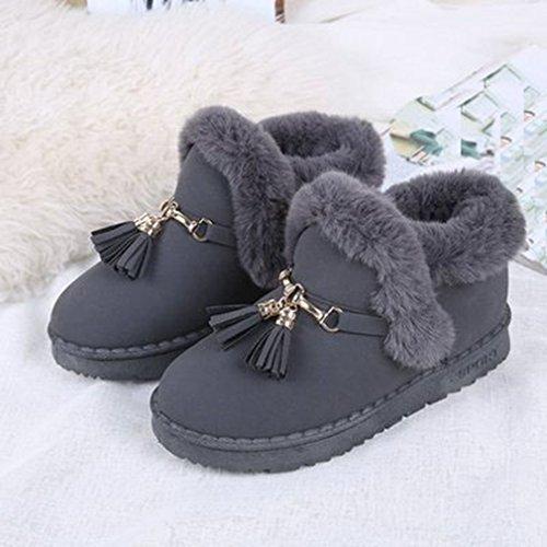 Giy Womens Mocka Päls Fodrade Snö Boots Tofs Vintern Varm Rund Tå Platta Slip På Mode Snö Boot Grå