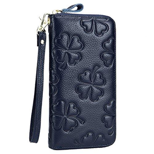 HASFINE Women Genuine Leather Long Wallet RFID Blocking Clutch Bag Wristlet Handbag Embossed Purse Credit Card Holder (Dark blue) by HASFINE