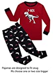 KikizYe Dinosaur Big Boys Long Sleeve Pajamas 100% Cotton Pjs Kids Sleepwears Size 14
