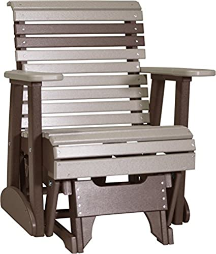 Furniture Barn USA Poly 2 Foot Porch Glider   Rollback Design   Weatherwood  And Chestnut Brown