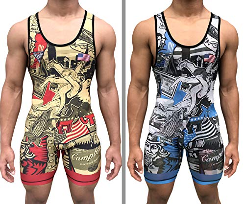 TRI-TITANS Merica Reversible UWW Wrestling Singlet - Freestyle Greco Roman Folkstyle - Red/Gold and Blue/Silver Mens & Youths