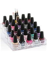 Decozen Nail Polish Organizer, Multi-Level Premium Quality Nail Polish Storage, 25 Slot Makeup Organizer and storage, 5 Tier Nail Polish, Brush, Clear Vanity Organizer