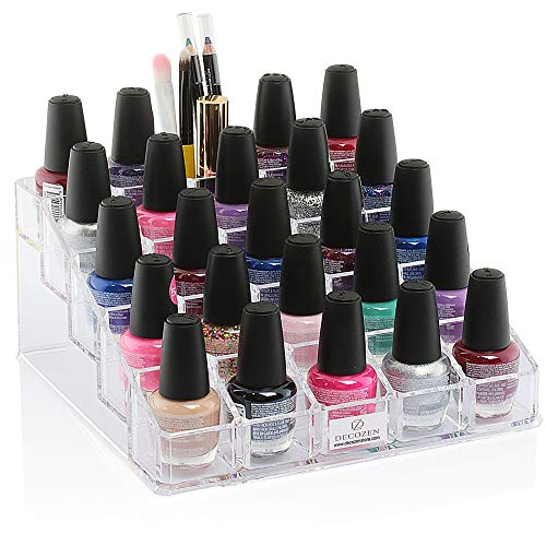 Decozen Makeup Organizer Storage Nail Polish Holder 25 Slot 5 Tiers for Nail Polish Make up Brush Holder Lipsticks…