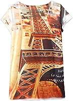 KaiTingu Women's Short Sleeve Eiffel Tower Graphic Print Vintage T Shirt White