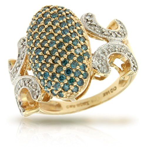 14k Yellow Gold Blue and White Diamond R - Diamond Forever Right Hand Ring Shopping Results