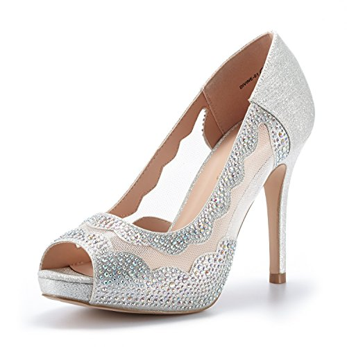 DREAM PAIRS Women's Divine-01 Silver High Heel Pump Shoes - 9.5 M US ()