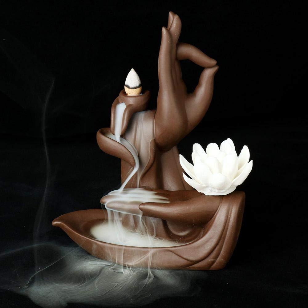 Lotus Flower/Monk Backflow Incense Burner, Large Handmade Ceramic Backflow Cone Sticks Incense Holder Home Decor Craftwork Figurine with 10 pcs Incense Cones (White Lotus) by FENBEN (Image #4)