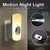 Sensky 3-in-1 Motion Night Light, Rechargeable Flashlight, Emergency Night Light for Bedroom, Bathroom, Baby Room, Stairways, Hallways