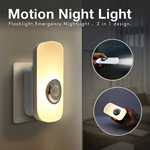 Sensky 3-in-1 Motion Night Light, Rechargeable Flashlight, Emergency Night Light for Bedroom, Bathroom, Baby Room, Stairways, (Motion Sensor Night Light)