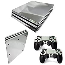 Chickwin PS4 Pro Vinyl Skin Full Body Cover Sticker Decal For Sony Playstation 4 Pro Console and 2 Dualshock Controller Skins (Silver Glossy)