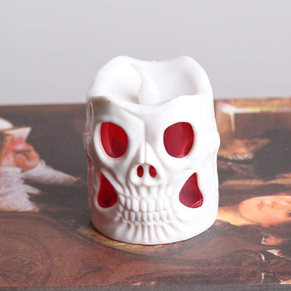 Blanco, Ojos Negros, Blanco, Ojos Rojos Amosfun Luces de Velas led de Halloween Esqueleto Velas sin Llama decoraci/ón de Fiesta para Bar jard/ín de su casa 2 Piezas