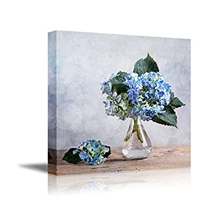 Canvas Wall Art - Still Life with Blue Hortensia Flowers in Glass Vase | Modern Home Art Canvas Prints Giclee Printing Wrapped & Ready to Hang - 24