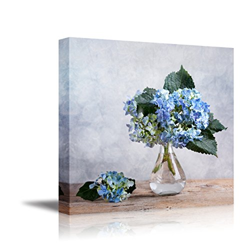 Blue Hortensia Flowers in Glass Vase Still Life Stretched