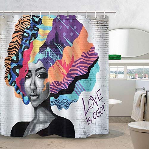 African American Shower Curtain, Afro Girl with Colourful Hair Hairstyle Portrait on White Brick Wall Hippie Art Shower Curtain for Bathroom, Fabric Bath Curtains 12PCS Hooks, 69X70 in