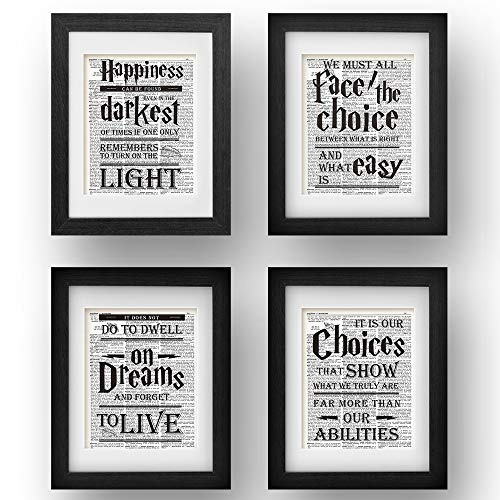 akeke Harry Potter Quotes & Sayings Vintage Book Art Prints - Set of 4-8x10 Unframed - Great Unique Inspirational Harry Potter Gifts