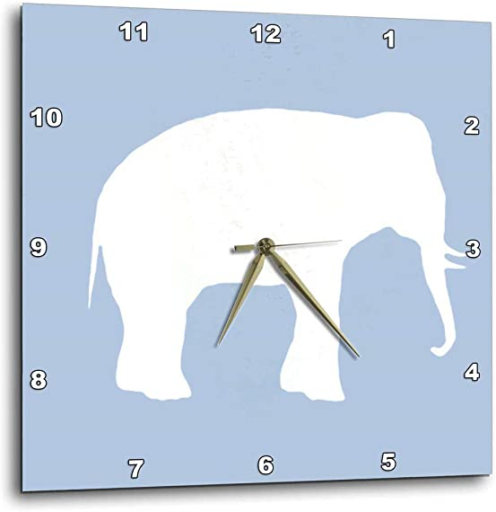 3dRose dpp_164910_1 Blue Elephant Silhouette. White Wildlife. Modern Pastel Wild Animal-Wall Clock, 10 by 10-Inch