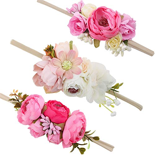 (Baby Girl Floral Headbands Set - 3pcs Flower Crown Newborn Toddler Hair Accessories by mligril, Blooming Peony, Small)