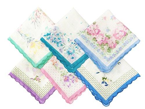 CoCoUSM Womens Vintage Floral Handkerchiefs Fabric Cotton Hankies