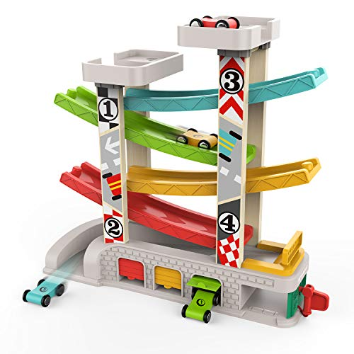 Best Present For 2 Year Old Boy (TOP BRIGHT Car Ramp Toy for 1 Year Old 2 Year Old Boy Gifts, Toddler Race Track Toy with 4 Wooden Cars and 3 Car)