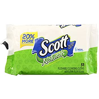 Scott Natural Moist Wipe Refill, 51 ct