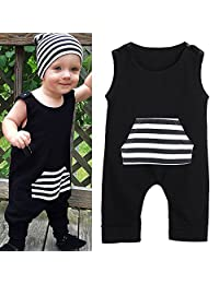 LUNIWEI Baby Kids Boys Sleeveless Stripe Romper Jumpsuit Outfits Clothes