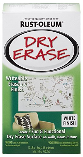 (Rust-Oleum 241140 Dry Erase Brush-On Kit, 1 Pack, White)