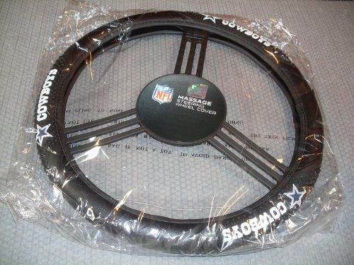NFL Dallas Cowboys Massage Grip Steering Wheel Cover, Black, One Size (Dallas Cowboys Football Car Flag)