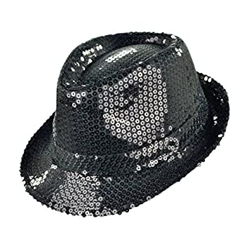 b403f777237 Geekbuzz Unisex Sequin Fedora Hat Colorful Bling Trilby Sequin Hat Fancy  Dress for Stage Show Glitter